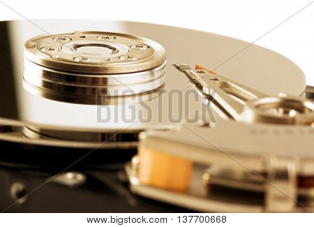 Photo Of Opened Close-up Hard Disk Drive