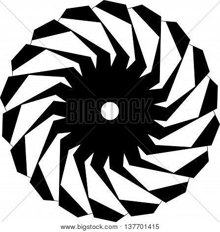 Circular Geometric Shape. Abstract Monochrome Spiral Element.