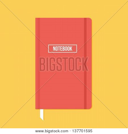 Red notebook with elastic band vector flat design illustration.