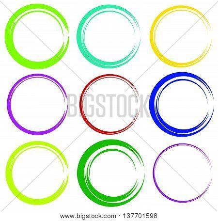 Sketchy Circles With Hand-drawn Effect. Set 9 Grungy Circles