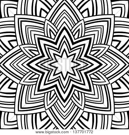Pattern of abstract mandala on a white background. Oriental ornament. Template for carpet shawl wallpaper embroidery.
