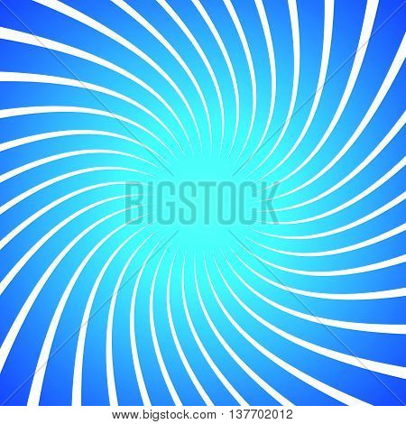 Twisted White Radial, Radiating Lines Over Bright, Vivid Blue Background. Spiral, Swirl Pattern.