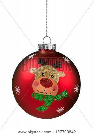 Red Reindeer Glitter Christmas Ball isolated on white