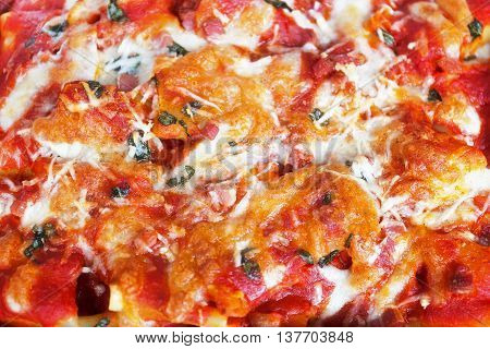 Paccheri baked with tomato sauce mozzarella bacon and basil. Italian culinary specialties. View from above.