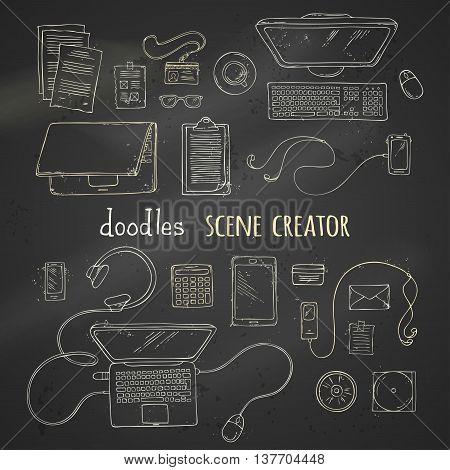Set Of Chalk Scene Creator Elements On Blackboard Background.