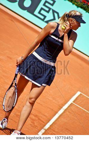 Maria Sharapova During A Match At Roland Garros In 2008