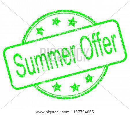 green summer offer rubber stamp - illustration