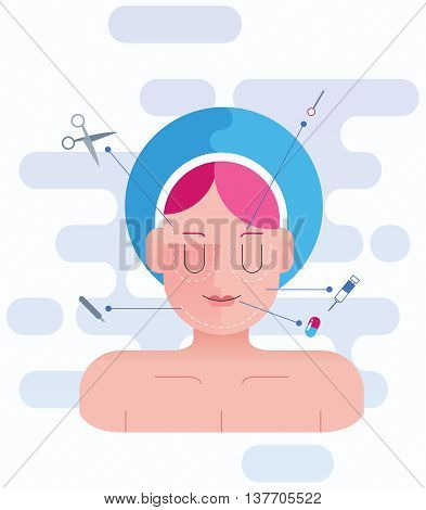 Concept flat design illustration for plastic surgery.