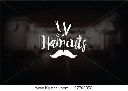 Barber Shop logo, moustaches, scissors and razor. Barber shop icon, Stock vector on the black background