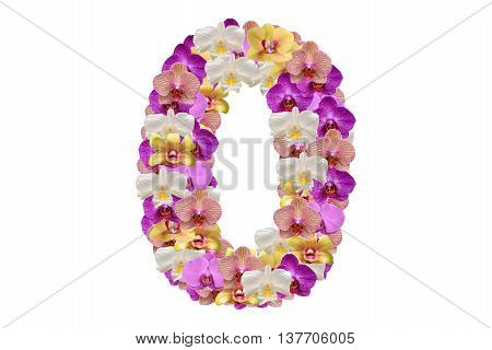 Number zero made of flower. White background