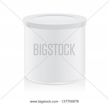 White tin can not have logo isolated on white background. Packaging template for food product and other.