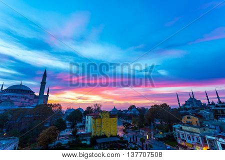 Panoramic View of Istanbul Old City with Famous Sultan Ahmed Mosque and Sophia Cathedral at Morning with amazing colors of Sky