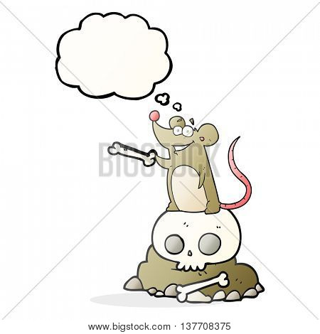 freehand drawn thought bubble cartoon graveyard rat