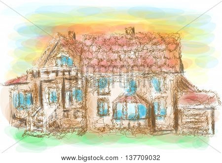 model house. abstract sketch of mansion on multicolor background