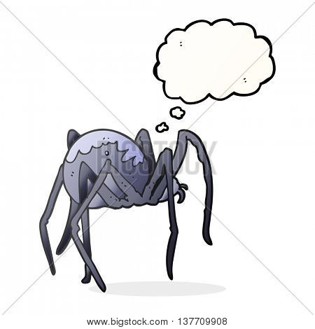 freehand drawn thought bubble cartoon creepy spider
