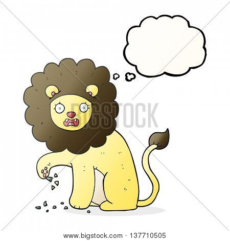 freehand drawn thought bubble cartoon lion with thorn in foot