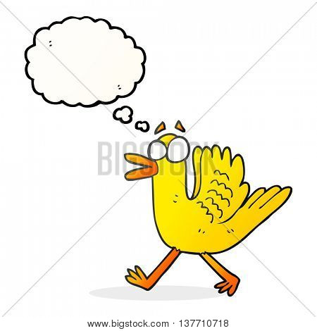 freehand drawn thought bubble cartoon flapping duck