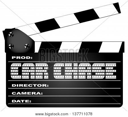A typical movie clapperboard with the legend CAR CHASE isolated on white.