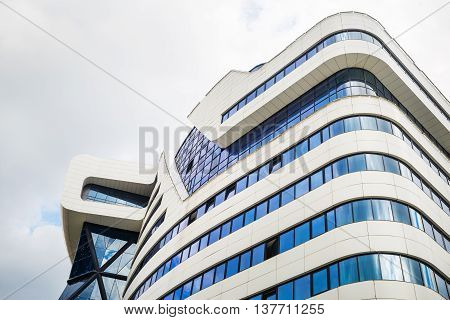 MINSK BELARUS - MAY 03 2016: Renaissance Minsk Hotel - this is the first hotel of the well-known international hotel chain Marriott in Belarus.