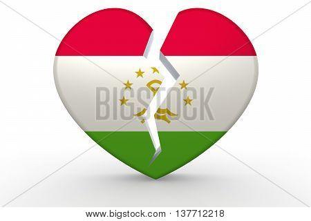 Broken White Heart Shape With Tajikistan Flag