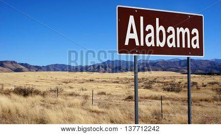 Alabama Brown Road Sign