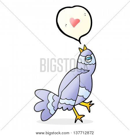 freehand drawn speech bubble cartoon bird singing