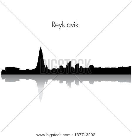 Reykjavik Iceland City skyline silhouette. Vector illustration.