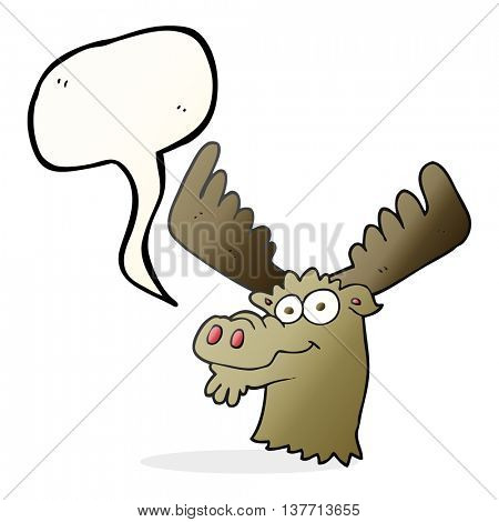 freehand drawn speech bubble cartoon moose