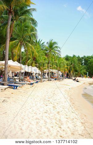 Coastline Of Siloso Beach At Sentosa Island Resort In Singapore