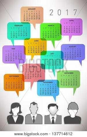 2017 Creative Icon People Calendar with Speech Balloons