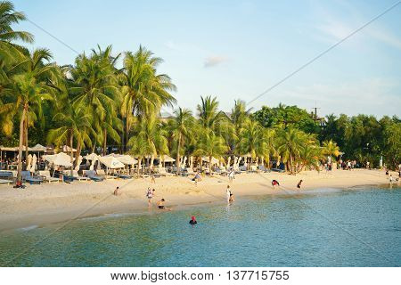 Siloso Beach In The Sentosa Island Resort In Singapore