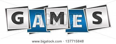 Games text alphabets written over blue grey background.