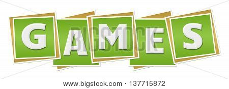 Games text alphabets written over green background.