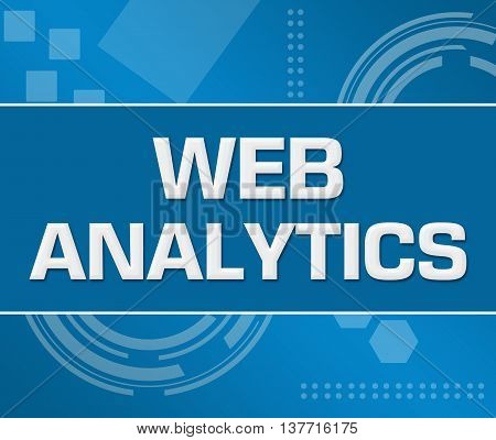 Web analytics text written over abstract blue background.
