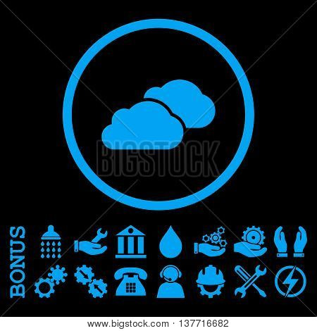 Clouds vector icon. Image style is a flat pictogram symbol inside a circle, blue color, black background. Bonus images are included.