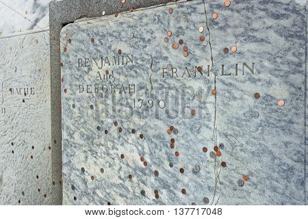 Benjamin Franklin Grave At Christ Church Burial Ground In Philadelphia