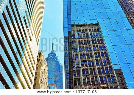 Bottom-up View On Skyscrapers Reflected In Glass In Philadelphia