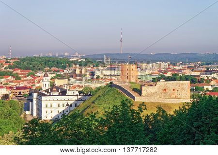 Gediminas Tower And Lower Castle In Vilnius In Lithuania
