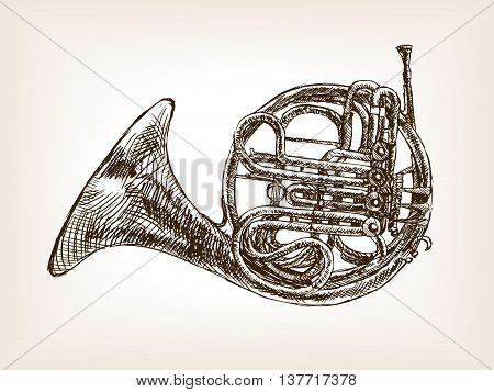 French horn sketch style vector illustration. Old engraving imitation.