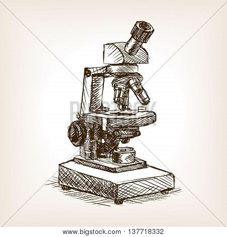 Microscope sketch style vector illustration. Old engraving imitation.