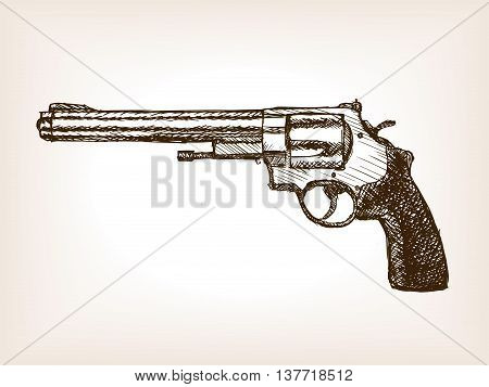Revolver gun sketch style vector illustration. Old hand drawn engraving imitation.