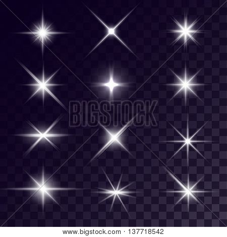 Vector starlights effects. White flares on transparent background. Release clipping mask for work.