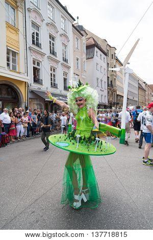 MUNICH, GERMANY - JULY 9, 2016: Christopher Street Day - Woman in fancy costume
