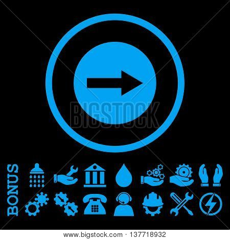 Right Rounded Arrow vector icon. Image style is a flat pictogram symbol inside a circle, blue color, black background. Bonus images are included.