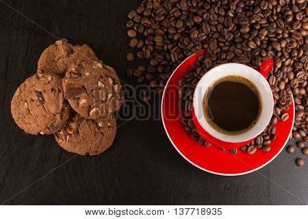 Good Morning Or Have A Nice Day Message Concept - Bright Red Cup Of Frothy Coffee With Chocolate Coo