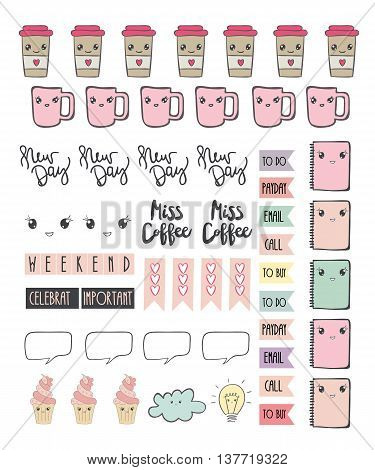 Cute stickers for diary and notes . Vector. Coffee Tea.