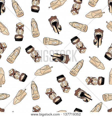 Seamless pattern with women's high heel shoes
