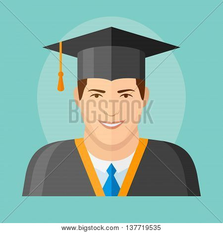 Male graduate in mantle and graduation cap flat icon. Man character vector illustration.