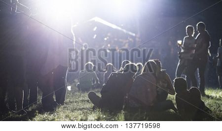 Rimetea (Torocko), Romania - July 2, 2016: Audience in front of the Main Stage at the Doublerise festival, the first multi art festival from Transylvania on July 2, 2016