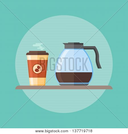 Glass coffee pot and disposable coffee cup. Flat style vector illustration.